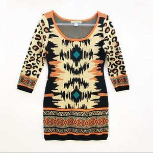 Flying Tomato (M) Orange Tribal Knit Sweater Dress